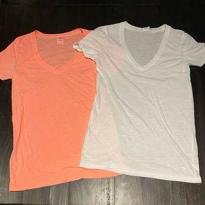 Pink tshirts night orange and white.